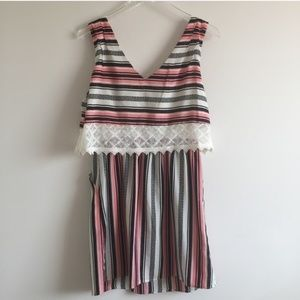 Lace trimmed stripped dress